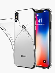 cheap -Case For Apple iPhone X / iPhone 8 Transparent Back Cover Solid Colored Soft TPU for iPhone X / iPhone 8 Plus / iPhone 8
