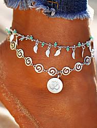 Недорогие -Многослойность 3D лодыжке браслет - В форме листа, пончики кисточка, Богемные, Мода Серебряный Назначение Праздники Бикини Жен.