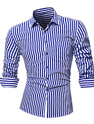 cheap -Men's Work Cotton Slim Shirt - Striped / Please choose one size larger according to your normal size. / Long Sleeve