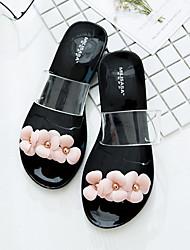 baratos -Mulheres Sapatos PVC Verão Conforto Chinelos e flip-flops Sem Salto Preto / Rosa claro