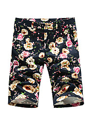 cheap -Men's Plus Size Cotton Slim Shorts Pants - Floral / Please choose one size larger according to your normal size.