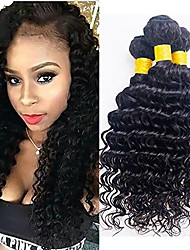 cheap -3 Bundles Mongolian Hair / Deep Wave Curly Human Hair Natural Color Hair Weaves / One Pack Solution 8-28 inch Human Hair Weaves Machine Made Best Quality / Hot Sale / 100% Virgin Natural Color Human
