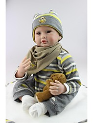 cheap -NPKCOLLECTION Reborn Doll Baby Boy 24 inch Silicone - lifelike, Artificial Implantation Brown Eyes Kid's Boys' Gift