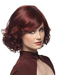 cheap -Synthetic Wig Curly Layered Haircut Synthetic Hair Party Burgundy Wig Women's Short Capless