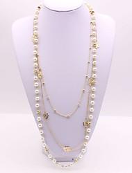 abordables -Femme Long Collier multi rangs - Imitation de perle Fleur Classique, Mode Or 56+5 cm Colliers Tendance 1pc Pour Quotidien