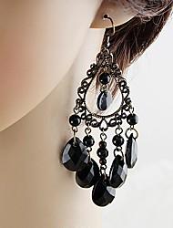 cheap -Women's Tourmaline Long Drop Earrings - Pear Basic, Fashion Black For Daily / Date