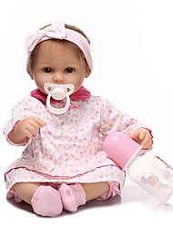 Недорогие -NPKCOLLECTION Куклы реборн Девочки 18 дюймовый Новорожденный Подарок Искусственная имплантация Коричневые глаза Детские Девочки Игрушки Подарок