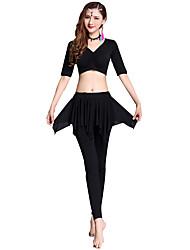 baratos -Dança do Ventre Roupa Mulheres Treino Modal Combinação / Elástico Meia Manga Caído Blusa / Calças