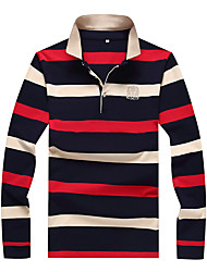 cheap -Men's Plus Size Cotton Polo - Color Block Shirt Collar / Please choose one size larger according to your normal size. / Long Sleeve
