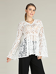 cheap -Women's Boho Flare Sleeve Pullover - Floral, Lace Trims