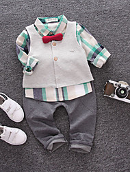 cheap -Baby Boys' Black & White Solid Colored / Geometric Long Sleeve Clothing Set