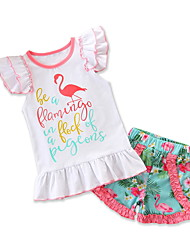 baratos -bebê Para Meninas Flamingos Floral / Estampado Manga Curta Conjunto