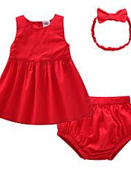 Недорогие -малыш Девочки Активный Рождество / На выход Однотонный Без рукавов Обычный Хлопок Набор одежды Красный / Дети (1-4 лет)