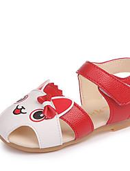 Недорогие -Девочки Обувь Полиуретан Лето Удобная обувь Сандалии Для прогулок Животные принты / На липучках для Дети (1-4 лет) Красный / Розовый