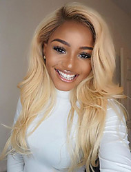 cheap -Human Hair Glueless Lace Front / Lace Front Wig Natural Wave Wig 130% Ombre Hair / Natural Hairline / African American Wig Women's Short / Medium Length / Long Human Hair Lace Wig / 100% Hand Tied