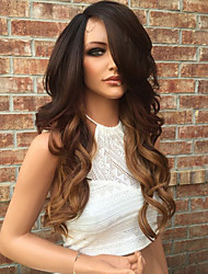 cheap -Human Hair Lace Front Wig / Glueless Lace Front Wig Brazilian Hair Wavy Layered Haircut 130% Density With Baby Hair / Ombre Hair / Natural Hairline Women's 10 inch / 12 inch / 14 inch Human Hair Lace