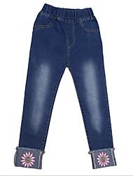 Недорогие -Дети Девочки Активный Повседневные Однотонный / Цветочный принт Вышивка Хлопок Джинсы Синий 140