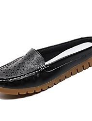 Недорогие -Жен. Обувь Полиуретан Лето Босоножки Башмаки и босоножки На плоской подошве Белый / Черный / Бежевый / Для вечеринки / ужина