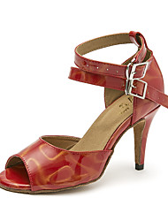 cheap -Women's Latin Shoes PU(Polyurethane) Sandal Sequin Slim High Heel Dance Shoes Beige / Dark Red