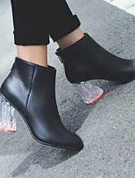 cheap -Women's Shoes Nappa Leather Fall & Winter Fashion Boots Heels Translucent Heel Closed Toe Booties / Ankle Boots Black