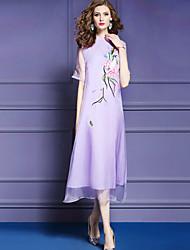 baratos -Mulheres Moda de Rua / Temática Asiática Evasê / Bainha Vestido - Bordado Médio