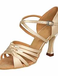 economico -Per donna Scarpe per balli latini Raso Tacchi Tacco alto sottile Scarpe da ballo Beige / Prestazioni / Di pelle / Da allenamento