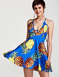 abordables -Mujer Festivos Línea A Vestido - Espalda al Aire, Fruta Alta cintura Mini Halter Piña / Verano