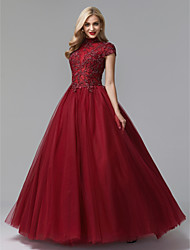 cheap -Ball Gown High Neck Floor Length Satin / Tulle Vintage Inspired Prom / Formal Evening Dress with Beading / Appliques by TS Couture®