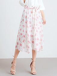 povoljno -žene izlaze midi line suknje - cvjetni