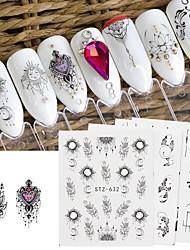 Недорогие -24 pcs Стикеры маникюр Маникюр педикюр Кружева Наклейки для ногтей На каждый день / фестиваль