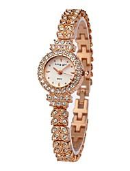 baratos -Mulheres Relógio de Pulso Chinês Cronógrafo / Adorável / imitação de diamante Aço Inoxidável Banda Rígida / Elegante Ouro Rose / Um ano