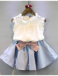Недорогие -Дети Девочки Классический Повседневные Однотонный Без рукавов Короткий Обычная Хлопок Набор одежды Белый