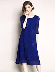 baratos -Mulheres Moda de Rua Reto Vestido - Bordado, Floral Médio