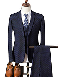 cheap -Men's Suits-Houndstooth Peaked Lapel / Long Sleeve