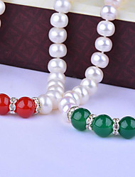 cheap -Women's Onyx Choker Necklace  -  S925 Sterling Silver, Freshwater Pearl Natural, Fashion, Elegant Red, Dark Green 45 cm Necklace 1pc For Party, Gift