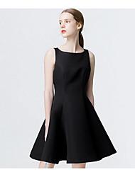 abordables -Mujer Línea A / Pequeño Negro Vestido Un Color Sobre la rodilla