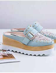 baratos -Mulheres Sapatos Pele Verão Chanel Tamancos e Mules Salto Plataforma Ponta quadrada Tachas Branco / Preto / Verde
