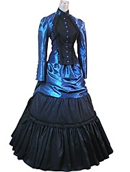 cheap -Gothic Lolita / Rococo Costume Party Costume / Masquerade Bule / Black Vintage Cosplay Flocked Long Sleeve Puff Sleeve