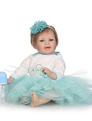 abordables -NPKCOLLECTION Muñecas reborn Bebé 24 pulgada Silicona - natural, Implantación artificial Ojos azules Kid de Unisex Regalo
