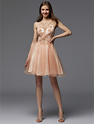 cheap -A-Line Jewel Neck Short / Mini Tulle Cocktail Party Dress with Beading by TS Couture®