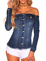 cheap -Women's Sexy / Street chic Denim Jacket - Solid Colored, Tassel