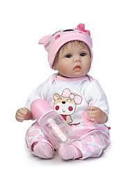 billige -NPKCOLLECTION Reborn-dukker Babypiger 18 inch Silikone - Nyfødt Gave Børnesikker Ikke Giftig Kunstig implantation Blå øjne Tippede og forseglede negle Børne Pige Legetøj Gave