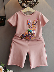 Недорогие -Дети Девочки Активный Повседневные Школа С принтом С принтом С короткими рукавами Обычный Обычная Хлопок Набор одежды Розовый
