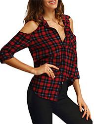 cheap -women's work shirt - plaid shirt collar