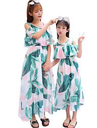 baratos -Adulto / Infantil Mamãe e eu Folha tropical Floral Manga Curta Vestido