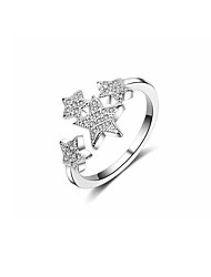 cheap -Women's Cubic Zirconia Cross Body Band Ring - Copper Star Korean Adjustable Silver For Gift Valentine