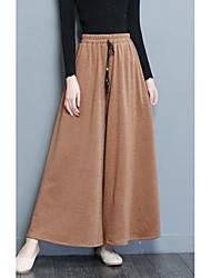 cheap -women's cotton wide leg pants - solid colored