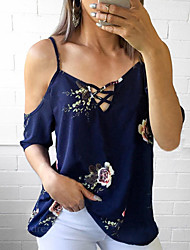 Недорогие -Жен. С кисточками Блуза Винтаж Однотонный Черное и белое
