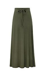 cheap -Women's Maxi A Line Skirts - Solid Colored High Waist