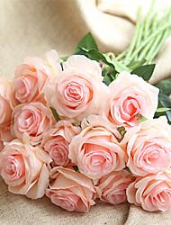 baratos -Flores artificiais 10 Ramo Clássico Casamento / Europeu Rosas Flor de Mesa
